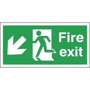 150x300mm Fire Exit Running Man Arrow Down Left - Self Adhesive