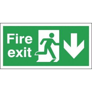 150x300mm Fire Exit Running Man Arrow Down - Self Adhesive