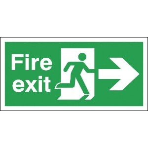 150x300mm Fire Exit Running Man Arrow Right - Aluminium