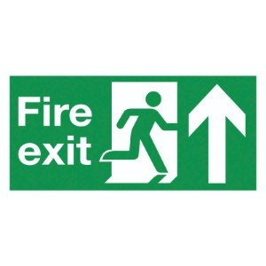 150x300mm Fire Exit Running Man Arrow Up - Self Adhesive