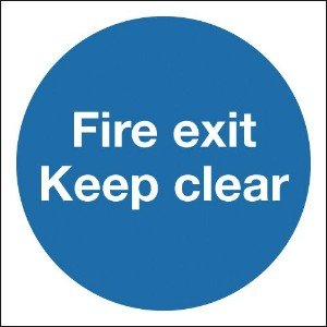 150x150mm Fire Exit Keep Clear - Self Adhesive