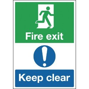 297x210mm Fire Exit Keep Clear - Self Adhesive