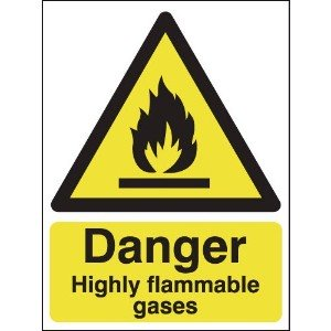 297x210mm Danger Highly Flammable Gases - Rigid