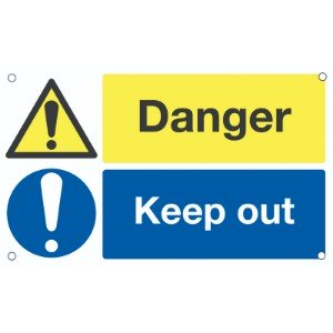300x500mm Danger Keep Out - Aluminium