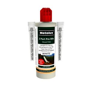 White Metolux Two Part Pre-Mix Woodfiller c/w Nozzle - 300g