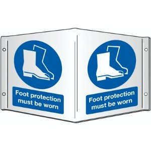 200x400mm Foot protection must be worn Projecting 3D Sign