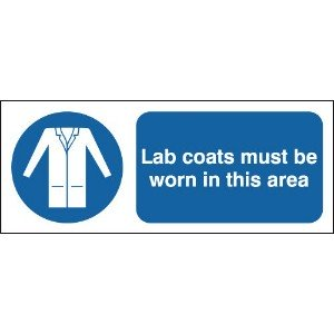 100x250mm Lab Coats Must Be Worn In This Area - Rigid