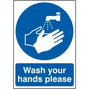 210x148mm Wash Your Hands Please - Self Adhesive