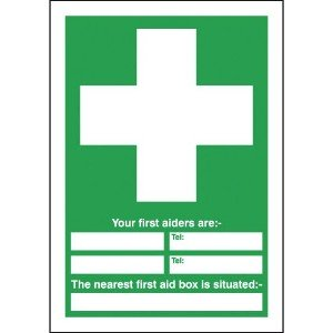 210x148mm Your First Aiders Are (spaces) Your Nearest First Aid Box Is Situated - Rigid