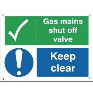 150x200mm Gas Mains Shut Off Valve Keep Clear - Aluminium