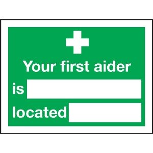 150x200mm Your First Aider Is Located - Self Adhesive