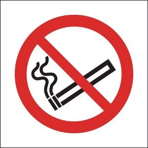 100x100mm No Smoking Symbol Only- Rigid