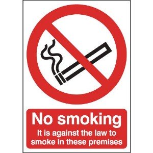 100x75mm No Smoking It Is Against The Law - Face Adhesive Vinyl