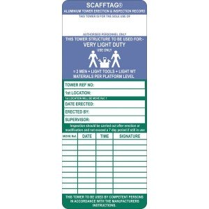 Scafftag Standard Towertag Inserts Pack of 50