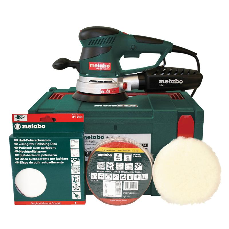 Metabo SXE 450 Turbo Tec PRO PACK 110V: 350W, 150mm Random Orbit Disc Sander + MetaLoc + Accessories