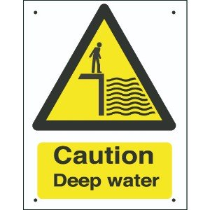 400x300mm Caution Deep water Vandal resistant sign