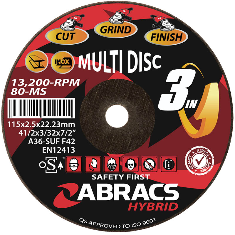 115x2.5x22mm Flat Hybrid 3 In 1 Multi Abrasive Cutting / Grinding Disc
