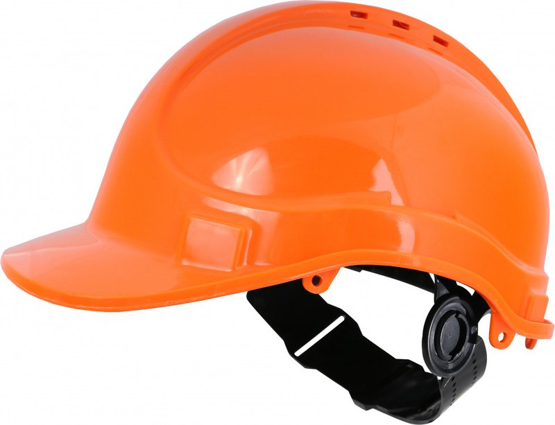 Orange Vented Safety Helmet - Webbing Harness Comfort Type