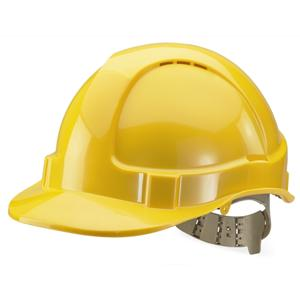 Yellow Vented Safety Helmet - Webbing Harness Comfort Type