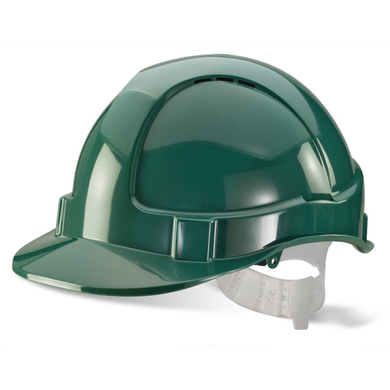 Green Vented Safety Helmet - Webbing Harness Comfort Type