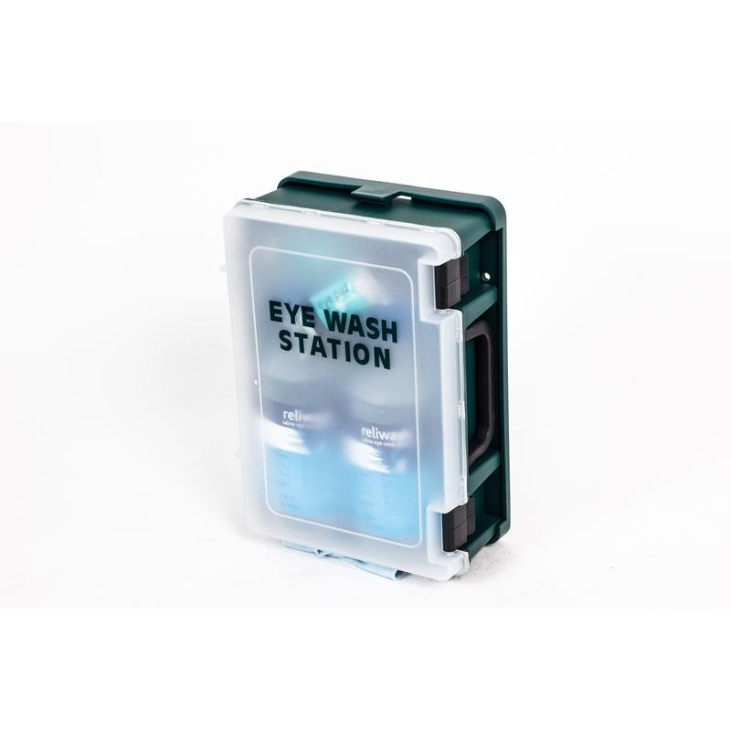 Wall Mounted Eyewash Station c/w 2x 500ml Bottles
