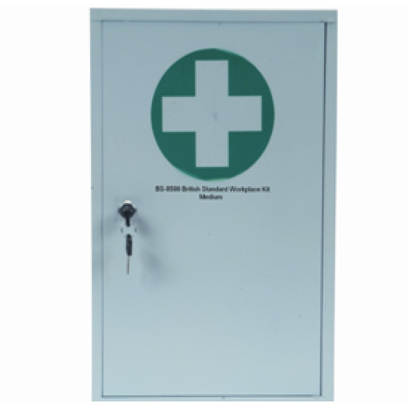 First Aid Wall Mounted Cabinet - Filled with BSI Compliant Kit - Large Content Size