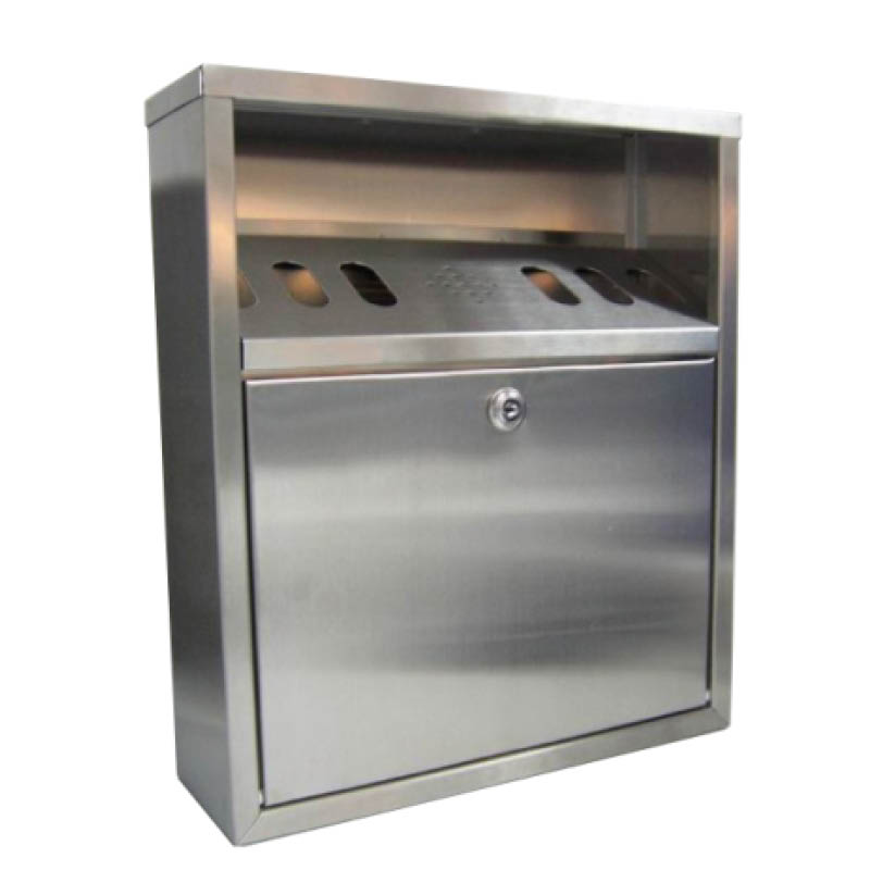 Wall Mounted Cigarette Bin - Stainless Steel