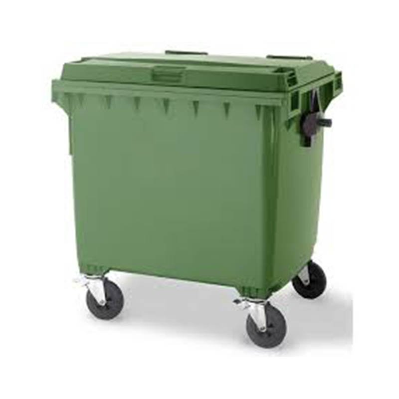1100L Plastic 4 wheeled bin with Lid in Lid Flap