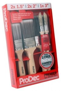 Set of 5 Premium Synthetic Decorators Paint Brushes - 2x38mm, 2x50mm, 1x75mm