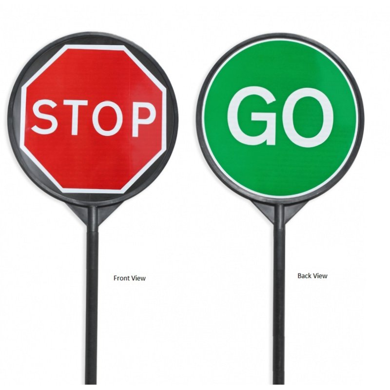 STOP and GO Lollipop Style Traffic Management Sign - Sign Face: 650mm round, Pole: 47x2040mm