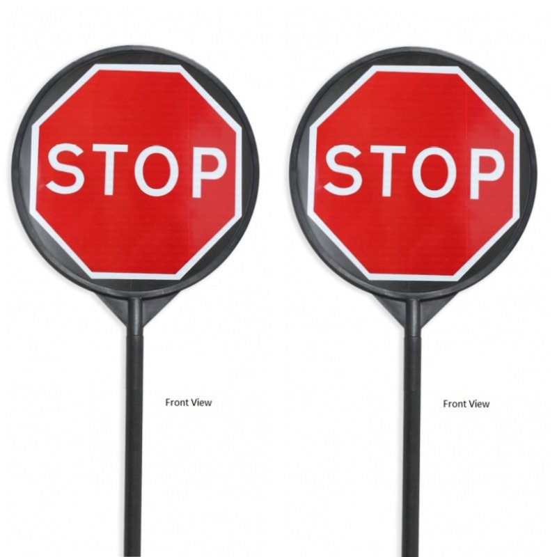 STOP and STOP Lollipop Style Traffic Management Sign - Sign Face: 650mm round, Pole: 47x2040mm