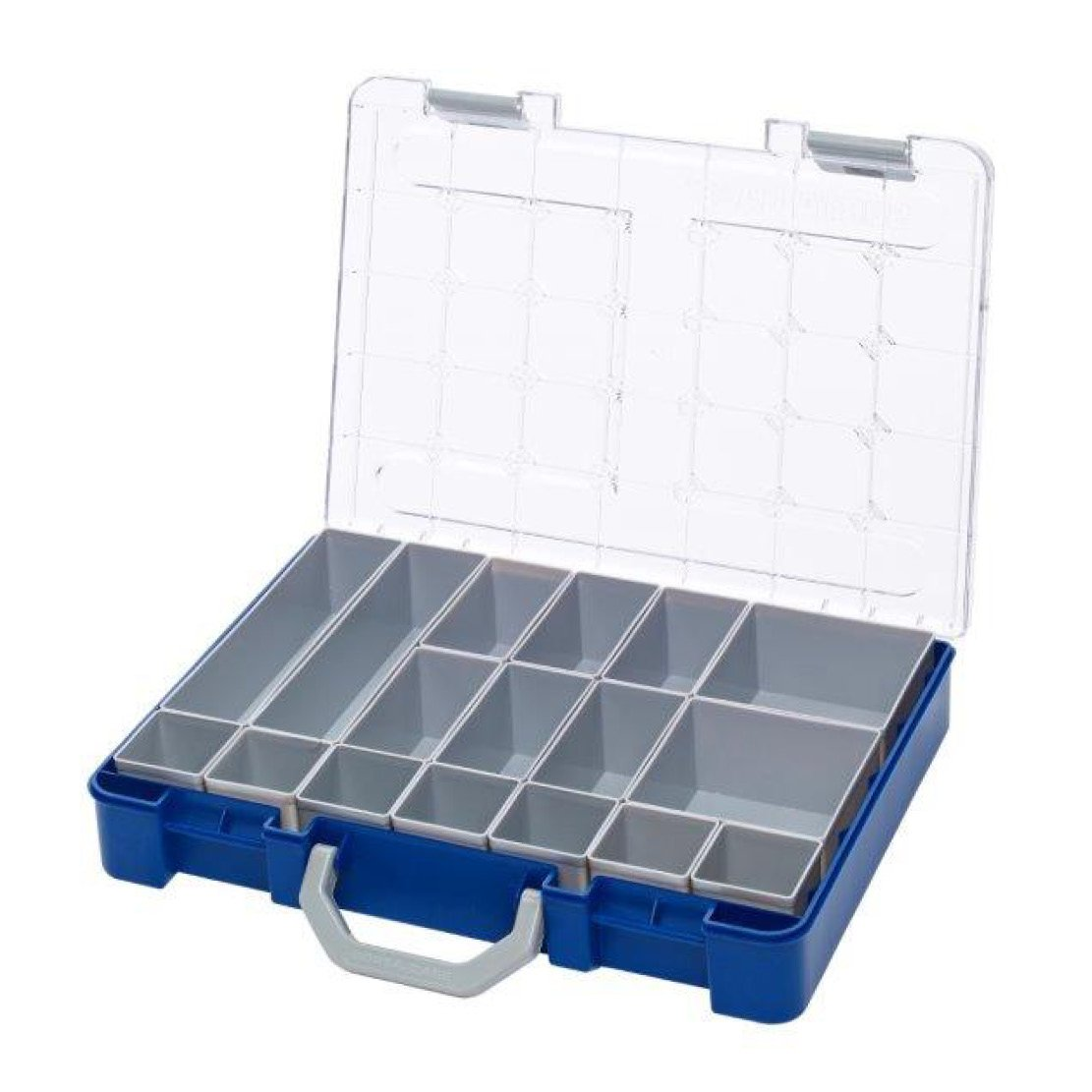 400 x 300 x 69mm Single Layer Sorta Case Range, includes Sorta-Pak with 6 dividers clear lid
