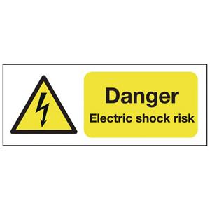 100x250mm Danger Electric Shock Risk - Self Adhesive