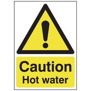 150x125mm Caution Hot Water - Self Adhesive