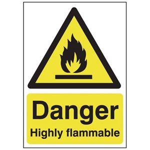 150x125mm Danger Highly Flammable - Self Adhesive