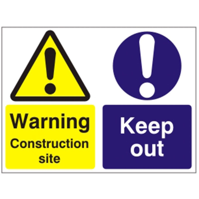 450x600mm 'Warning Construction site Keep out' Rigid Foamboard sign