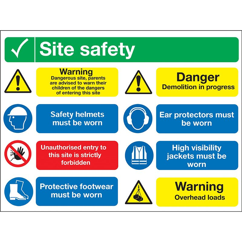 600x800mm SITE SAFETY Visitor Instructions Sign Rigid