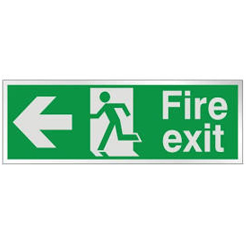 150x300mm Fire Exit Running Man Arrow Left - Self Adhesive