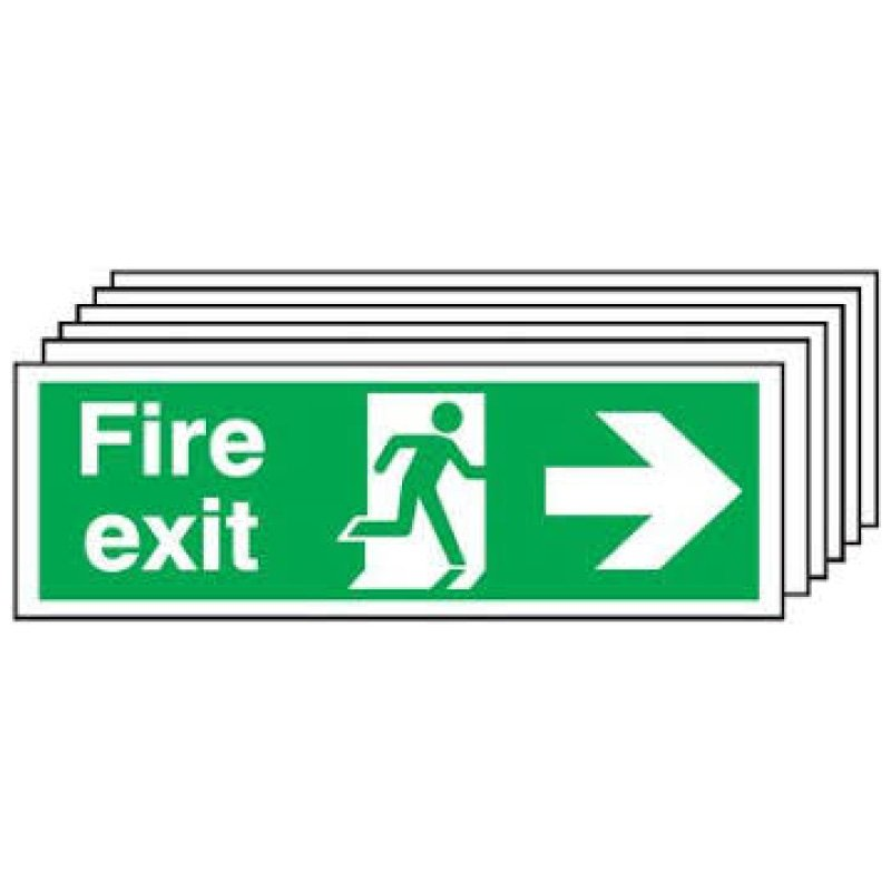 150x300mm Fire Exit Running Man Arrow Right - Self Adhesive